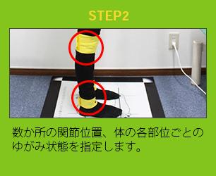 数か所の関節位置、体の各部位ごとのゆがみ状態を指定します。